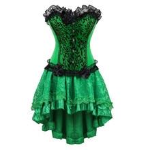 Frauen Burlesque Tänzerin Kleid Sexy Bustier Korsett Gothic Spitze Vintage Korsett Kleid Mit Rock Set Gift Ivy Kostüme Plus Größe