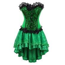 Vrouwen Burlesque Danser Sexy Bustier Corset Gothic Kant Vintage Corset Jurk Met Rok Set Poison Ivy Kostuums Plus Size