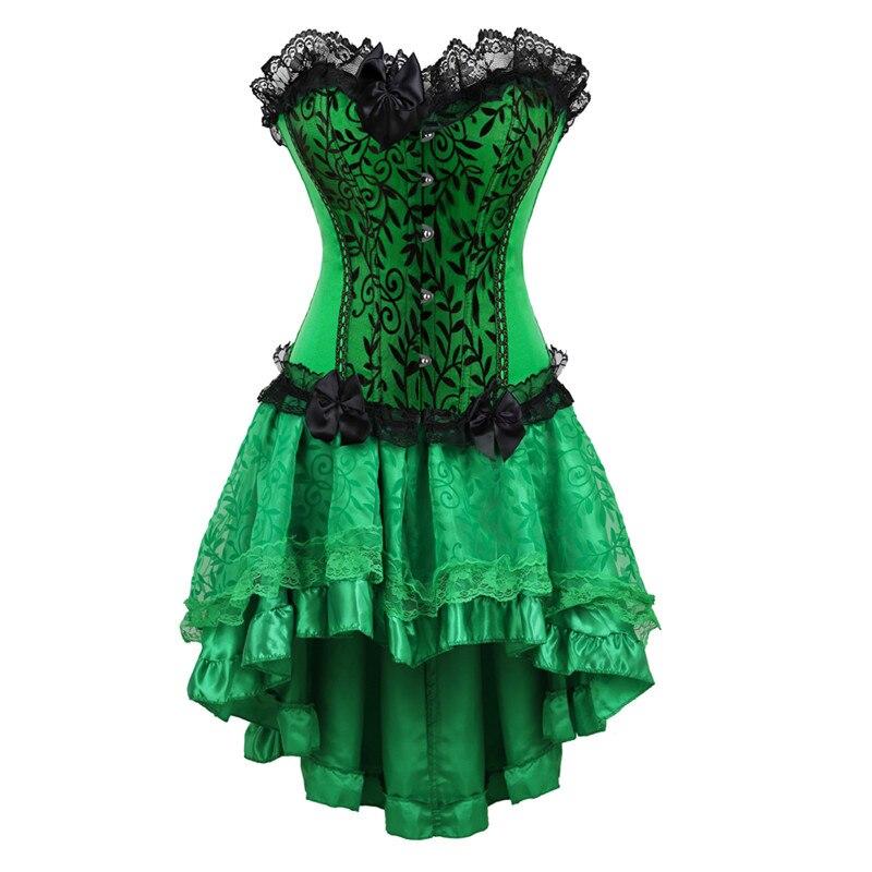 Women Burlesque Dancer Dress Sexy Bustier Corset Gothic Lace Vintage Corset Dress With Skirt Set Poison Ivy Costumes Plus Size