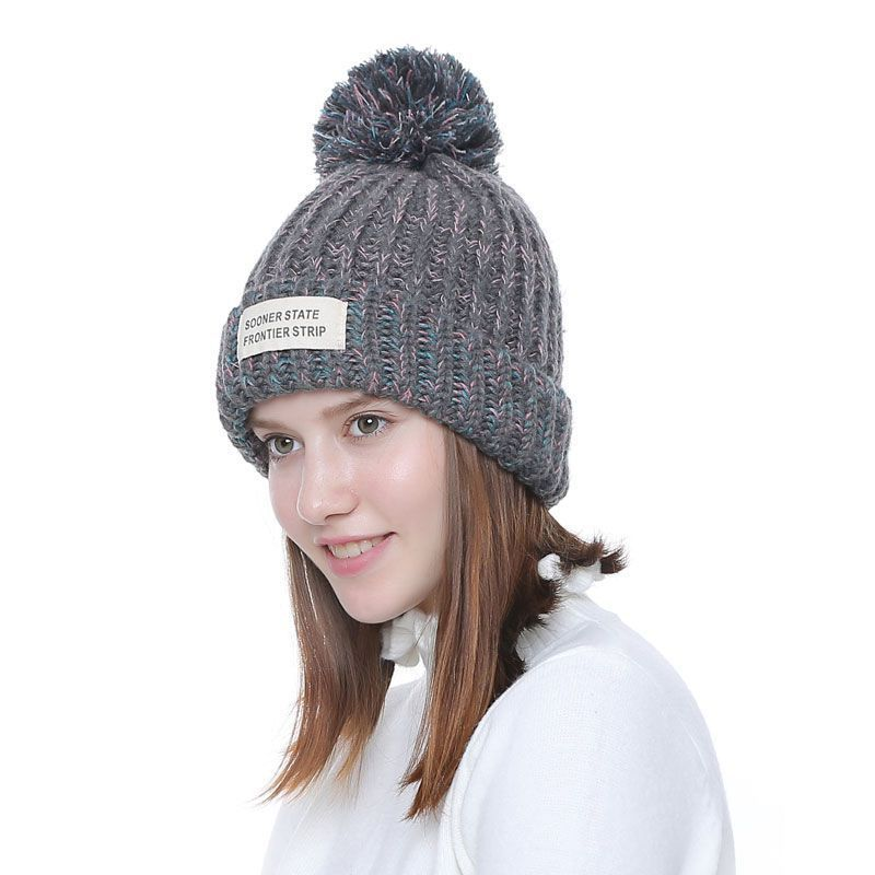 208e17dae Knitted Women Beanies With Pompon Winter Female Beanie Casual Hats ...