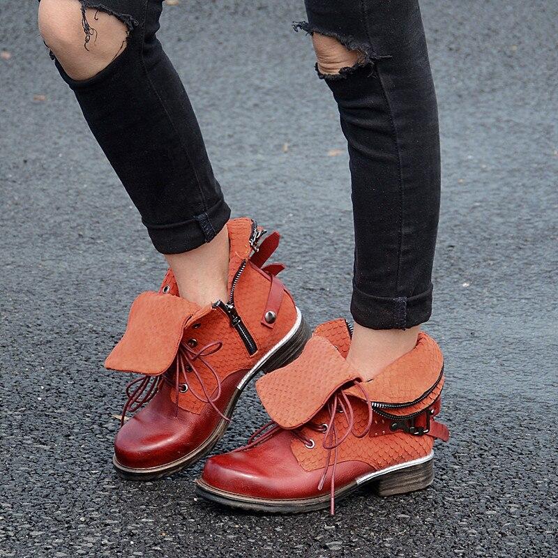 Haute Cheville Mujer Qualité Perfetto Lacent Prova Moto Femme Bottes Carré Conception Chaussures Bout Bleu orange gris Cool Zapatos Casual Appartements qxw5xan