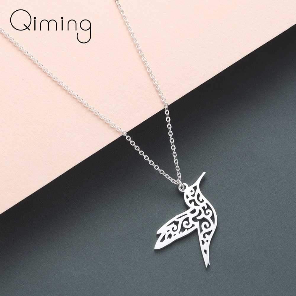 Silver Hummingbird Necklace Women Hollow Bird Animal Pendants Necklaces Minimalist Retro Jewelry Gift For Girls