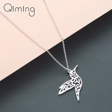 Silver Hummingbird Necklace Women Hollow Bird Animal Pendants Necklaces Minimalist Retro Jewelry Gift For Girls(China)