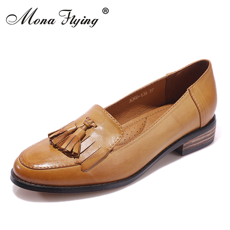 Women Brogue Shoes 2017 New Brand Genuine Leather Women Casual Flats Bullock Shoes for Women Oxford Shoes Women A068-139