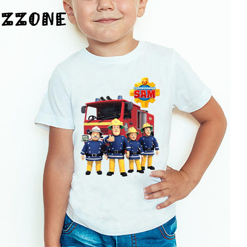 Children Cartoon Fireman Sam Printed Funny T shirt Kids Summer Tops Baby Girls Boys Great Casual T-shirt,HKP2078 boys and girls teen titans go cartoon printed t shirt children great casual short sleeve tops kids cute t shirt