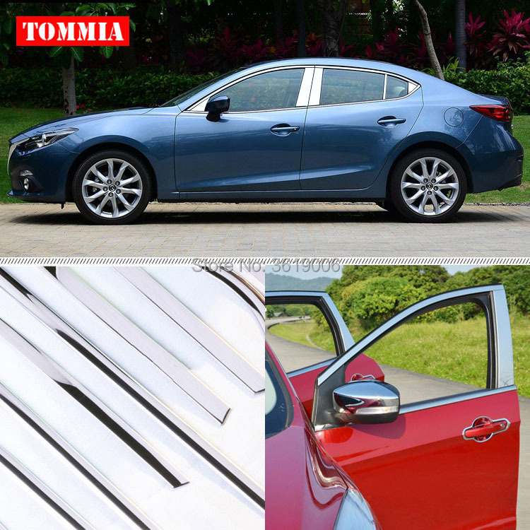 TOMMIA Full Window Middle Pillar Molding Sill Trim Chromium Styling Strips Stainless Steel For Mazda 3 Axela 2014-2017