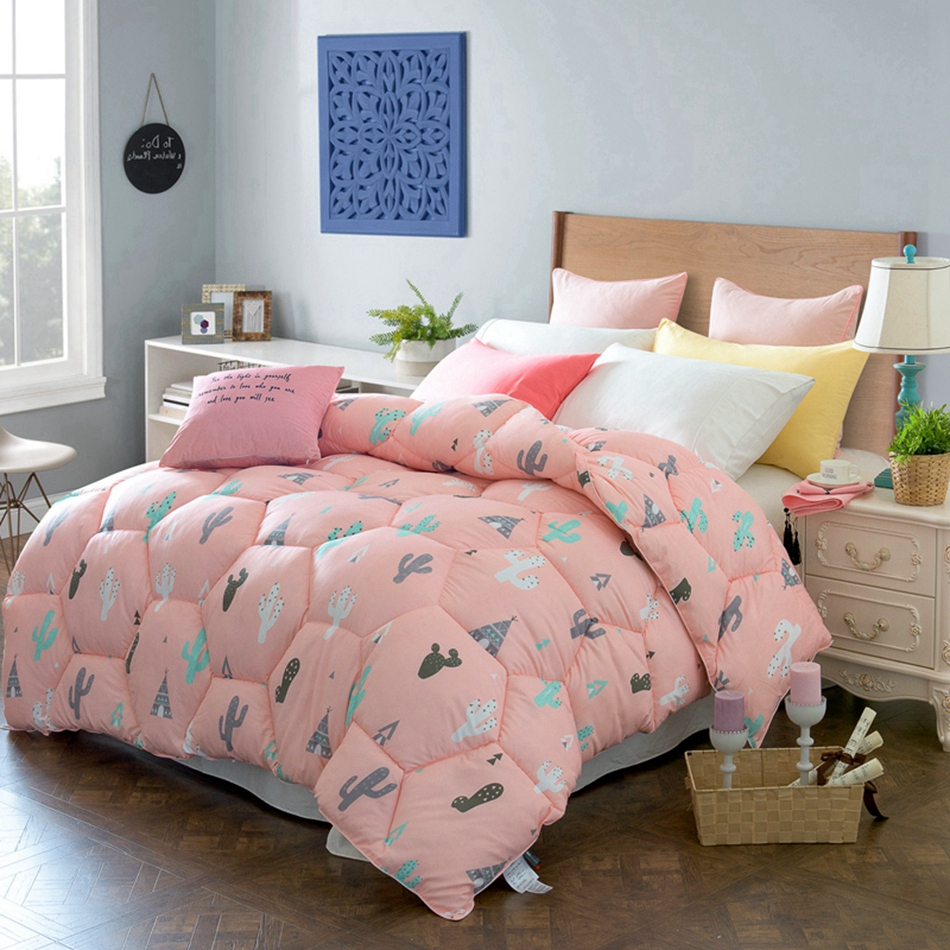Pink Home Comforter Cartoon Cactus Patterns Cheap But Comfortable ... : quilt on bed - Adamdwight.com
