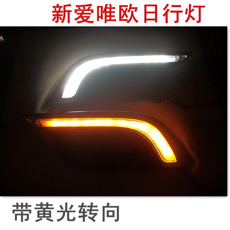 светодиодные DRL фары дневного света противотуманные фары для Шевроле Авео Соник 2014-15 с желтыми поворотниками