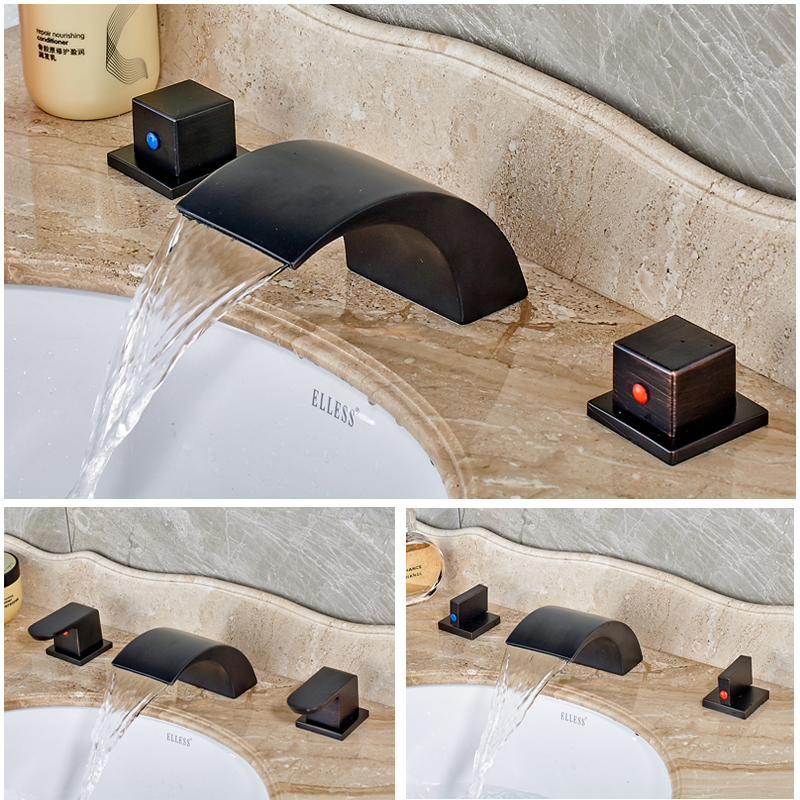 ФОТО Deck Mounted Dual Handles Waterfall Mixers Faucet Bathroom Widespread Bath Spout Water Taps Oil Rubbed Bronze Finish