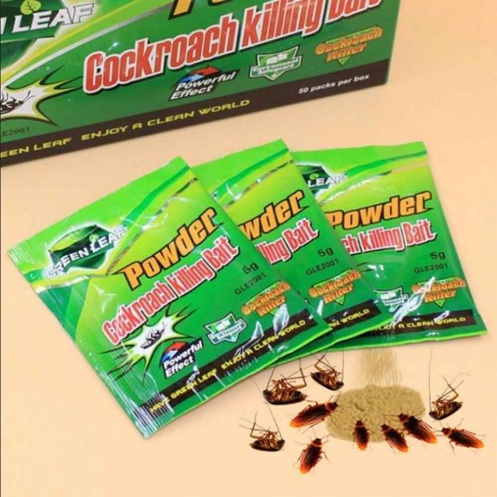 10 Packs Green Leaf Powder Cockroach Killer Bait Repeller Killing Trap Pest Control YU-Home