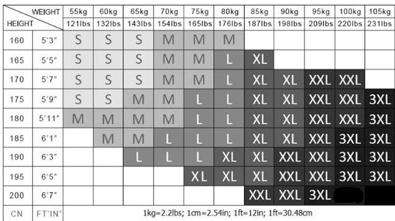long sleeve rashguard size chart