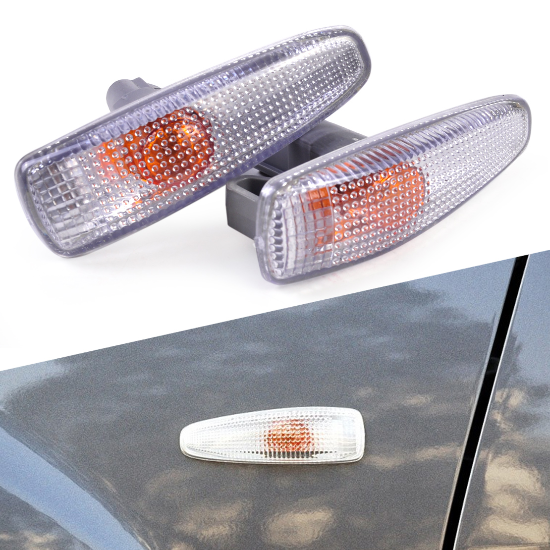 beler 2x New Grey Plastic Turn Signal Lamp Lights Fender Side for Mitsubishi Lancer 2008 2009 2010 2011 2012 2013 2014 8351A047 reinforced radiator coolant silicone hose for mitsubishi evolution evo x 10 10x cz4a 4b11 2008 2013 2012 2011 2010 2009