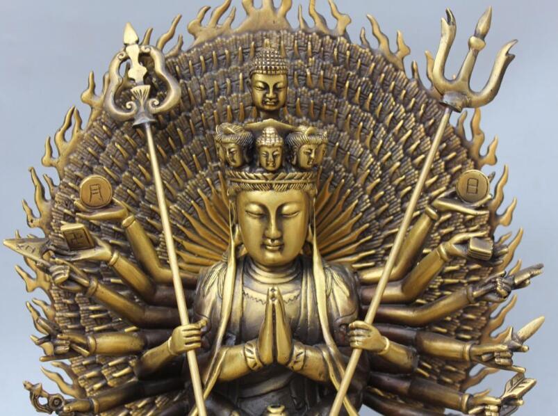 S06611 14 Chinese Bronze 1000-Arm Avalokiteshvara Kwan-yin Shakyamuni Buddha StatueS06611 14 Chinese Bronze 1000-Arm Avalokiteshvara Kwan-yin Shakyamuni Buddha Statue