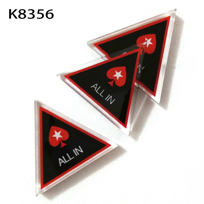 Baccarat Texas Holdem Poker All In Button Triangle Acrylic All In Button Texas Hold'em PokerStars ALL IN Poker Cards Guard K8356