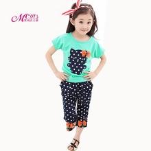 цена 2018 Summer Girls Clothing Sets Baby Kids Clothes Cotton Cartoon T-Shirt+Dot Pants Set Children Girl Clothes 3 4 5 6 7 8 9 Years онлайн в 2017 году