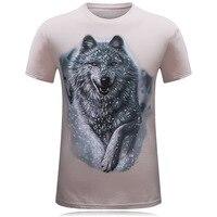 ฤดูร้อนแฟชั่นแบรนด์เสื้อยืดผู้ชายผ้าฝ้าย2017วัยรุ่นหมาป่า3Dพิมพ์Tee