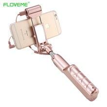 Floveme палка для селфи с зеркало заднего вида, Заполните свет для iPhone Samsung Android телефон ручной монопод Штатив проводной selfy stick