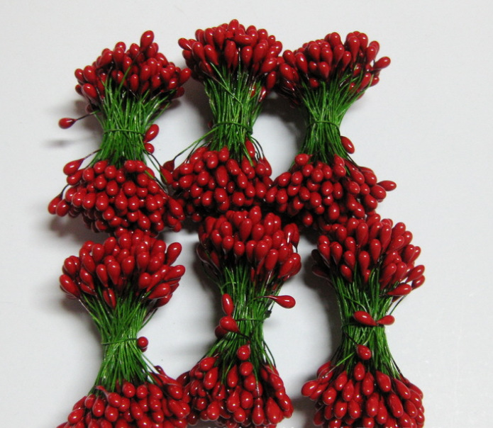 Buy Floral Stamens Double Artificial Red Holly Berry Stamens On Green Wire