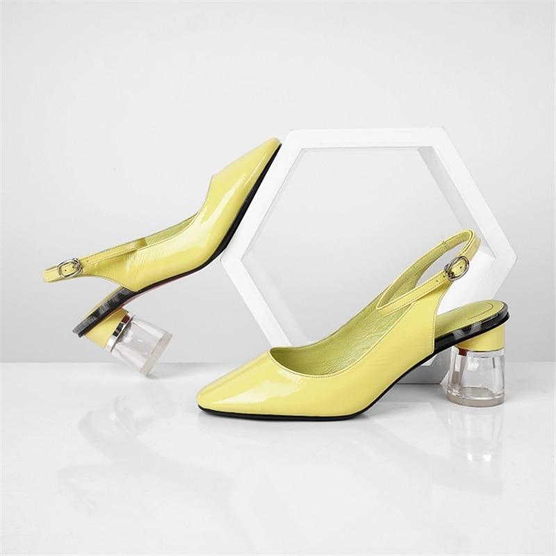 MSSTOR Yellow Designer Sandals Transparent Buckle Genuine Leather Elegant Fashion Strap Sandals Round Heel Summer Shoes Woman