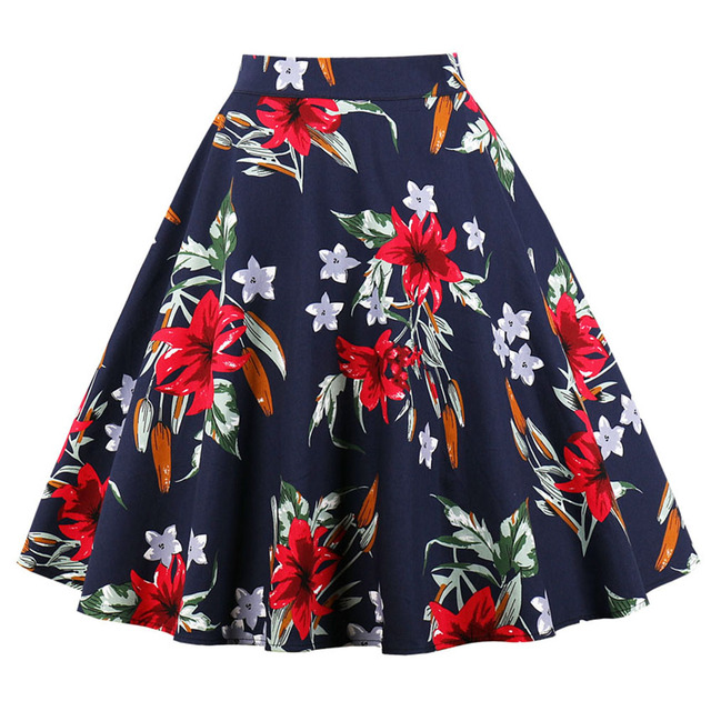 c9cb2cb7a2c7d Sisjuly Women Retro Red Flower Green Leaf Black Dark Blue Big Swing Skirt  Vintage Plus Size 4XL Floral Print Pleated Boho Skirts