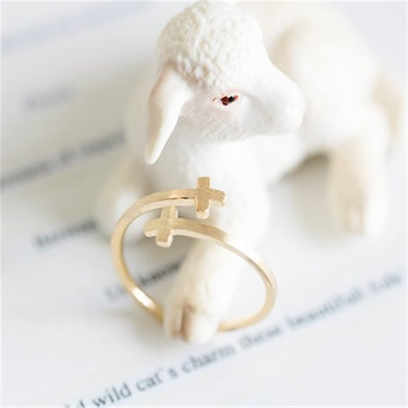 Fashion iron jesus sideways double cross cuff finger religious Gold-color rings for women