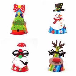 Рождественская креативная бумажная шляпа, очки для старика, олени, черная шляпа, снеговик, бант, дерево, шляпа для взрослых, подарок для