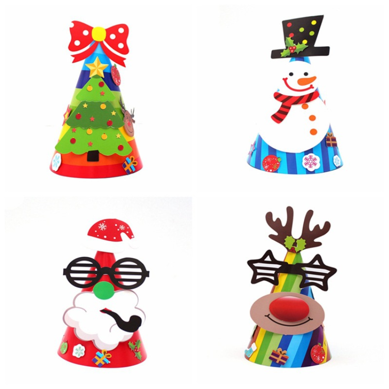 Christmas Creative Paper Hat Glasses Old Man Glasses Reindeer Black Hat Snowman Bow Tree Hat For Adults Children Gift
