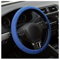 Car Auto Universal leather diy  Elastic Handmade Skidproof Steering Wheel Cover Blue/Black New Dropping Shipping&
