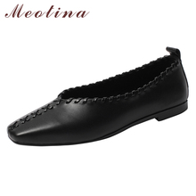 Купить с кэшбэком Meotina Ballet Flats Shoes Women Natural Genuine Leather Flat Loafers Shoes Real Leather Square Toe Boat Shoes Spring Size 33-40