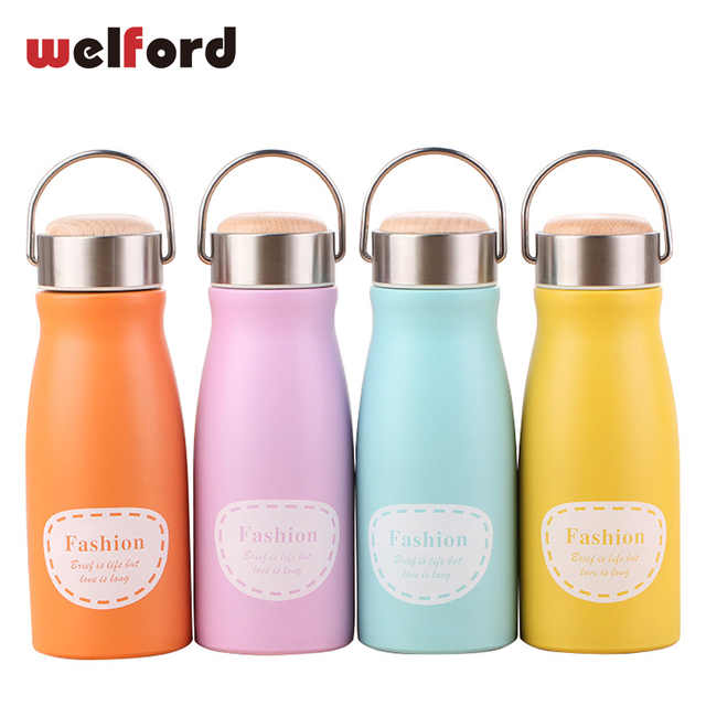 New stainless steel thermos cup wooden Lid Insulated vacuum flask cartoon  women belly cup travel mug 3959658de