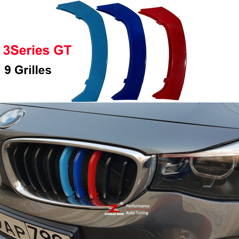 3D color Front Grille Trim Strips Cover Stickers for 2013-2018 <font><b>BMW</b></font> <font><b>3</b></font> <font><b>Series</b></font> <font><b>GT</b></font> 3GT F34 328i 320i 335i xDrive with 9 Grilles image