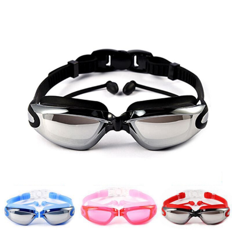 2019 New Outdoor Water Sports Waterproof Anti-fog Swimming Glasses Large Frame with Silicone Earplugs Swimming Goggles Eyewear