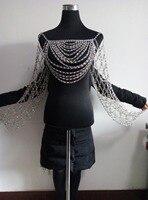 Новинка; модный стиль wrb1005 блестящими серебристыми стразами Бусины Цепи Jewelry Nicki Minaj Стиль со стразами Цепочки и ожерелья Цепи ювелирные изде