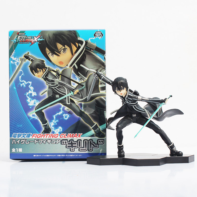 15cm Anime Sword Art Online Kazuto Kirito Fighting Climax PVC Action Figure Collectible Model Doll Toy 15 5cm anime sword art online kirigaya kazuto kirito pvc action figure model collection toy