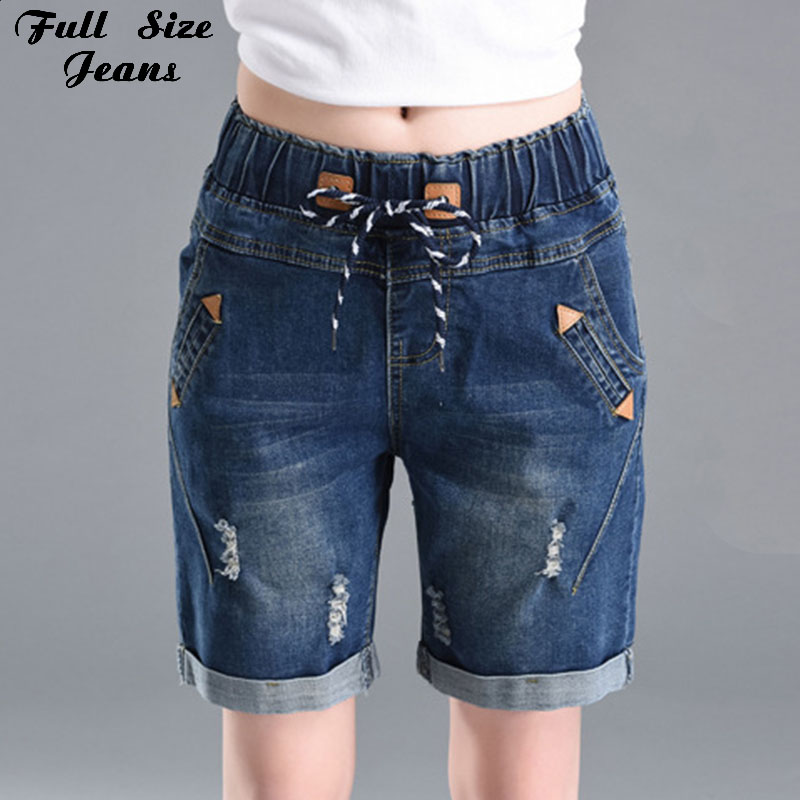 Full Size Jeans 2017 Summer Loose Wide Leg Elastic Waist Short Jeans Oversized Straight Denim Shorts Pants 2Xl 3Xl 4Xl