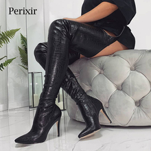 цена на Fashion Sexy Women High Heels Long Thigh High Boots Rihanna Style Over The Knee Boots for Women Shoes Pointed Toe Pleated Solid