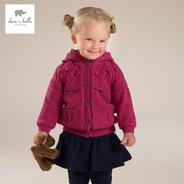 DB3742 DAVEBELLA niña niños suéter de invierno gruesa chaqueta de punto con forro polar