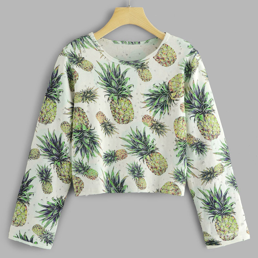 Fashion Womens Sweatshirt Winter clothes Long Sleeve Pineapple Printing Round Neck Sweatshirt sudadera women hoodies