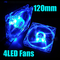 120mm Fans 4 LED 120 x 120 x 25mm 4pin Hydraulic Bearing LED Blue Computer Case Cooling Fan for Computer Case Free Shipping