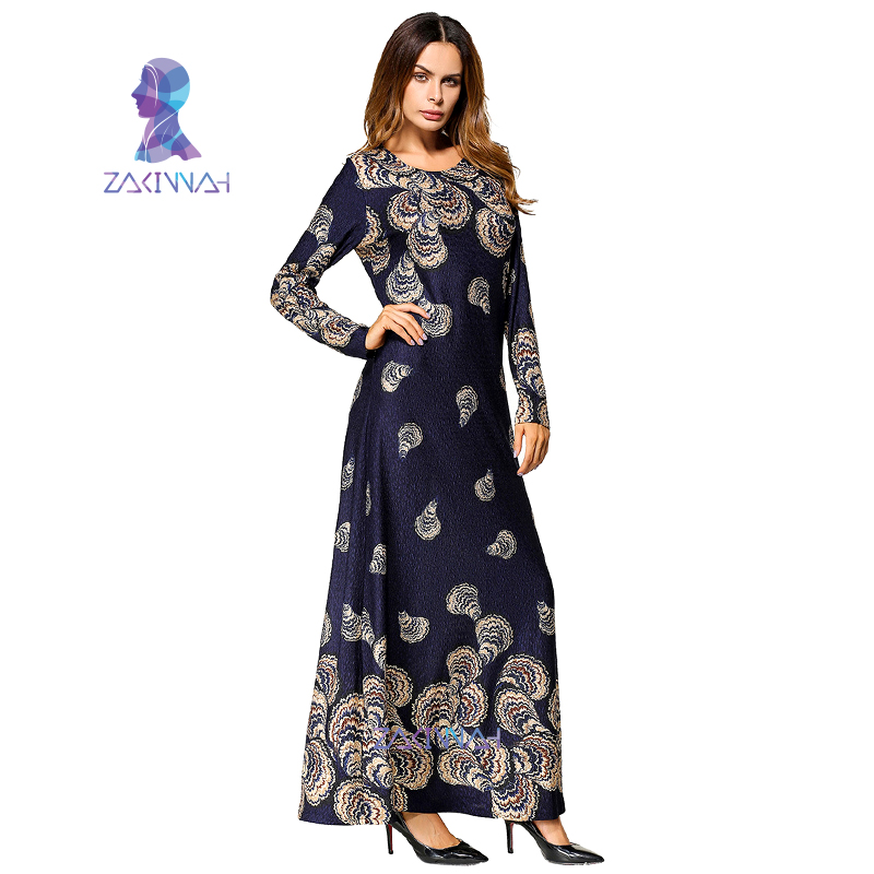 5c197b9bcf9 Casual Muslim Women s Maxi Dress Cotton Middle East Long Robe Gowns