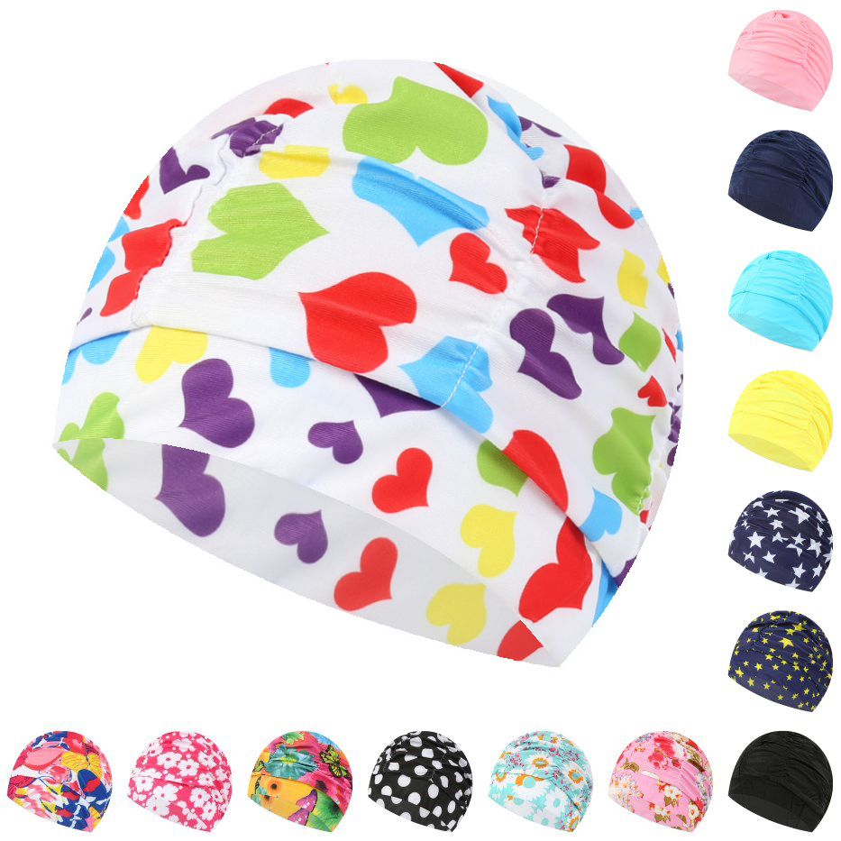 Women Swimming Cap Unisex Girls Long Hair Elastic Bathing Hat Swimming Cap Stretch Drape Plus Size Swim Pool Sport Nylon Turban