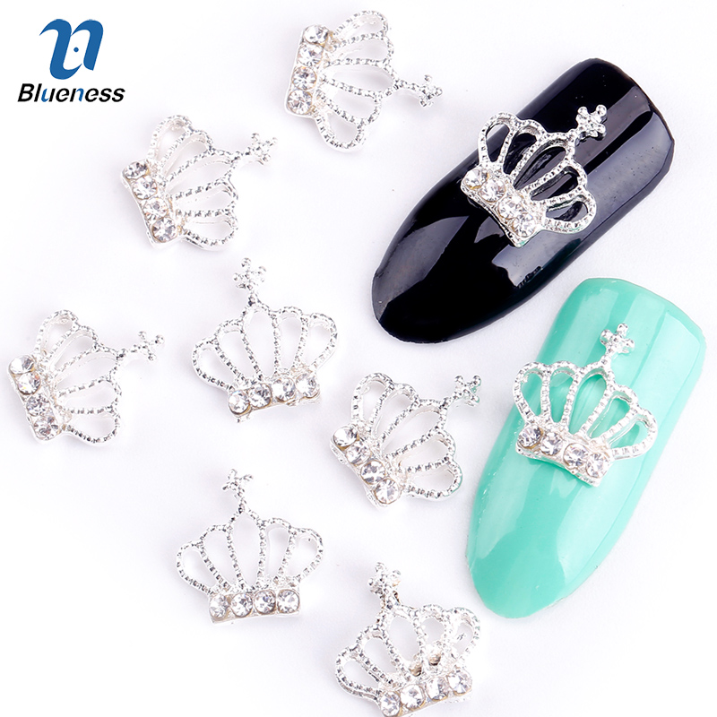 Blueness 10pc/lot Glitter Alloy Silver Crown Nail Art With Rhinestones, Charms Rhinestones For Nails, 2015 New Fashion TN550 blueness 10pcs nail art decoration charms glitter rhinestone for strass silver alloy bow design adhesives studs accessory tn172