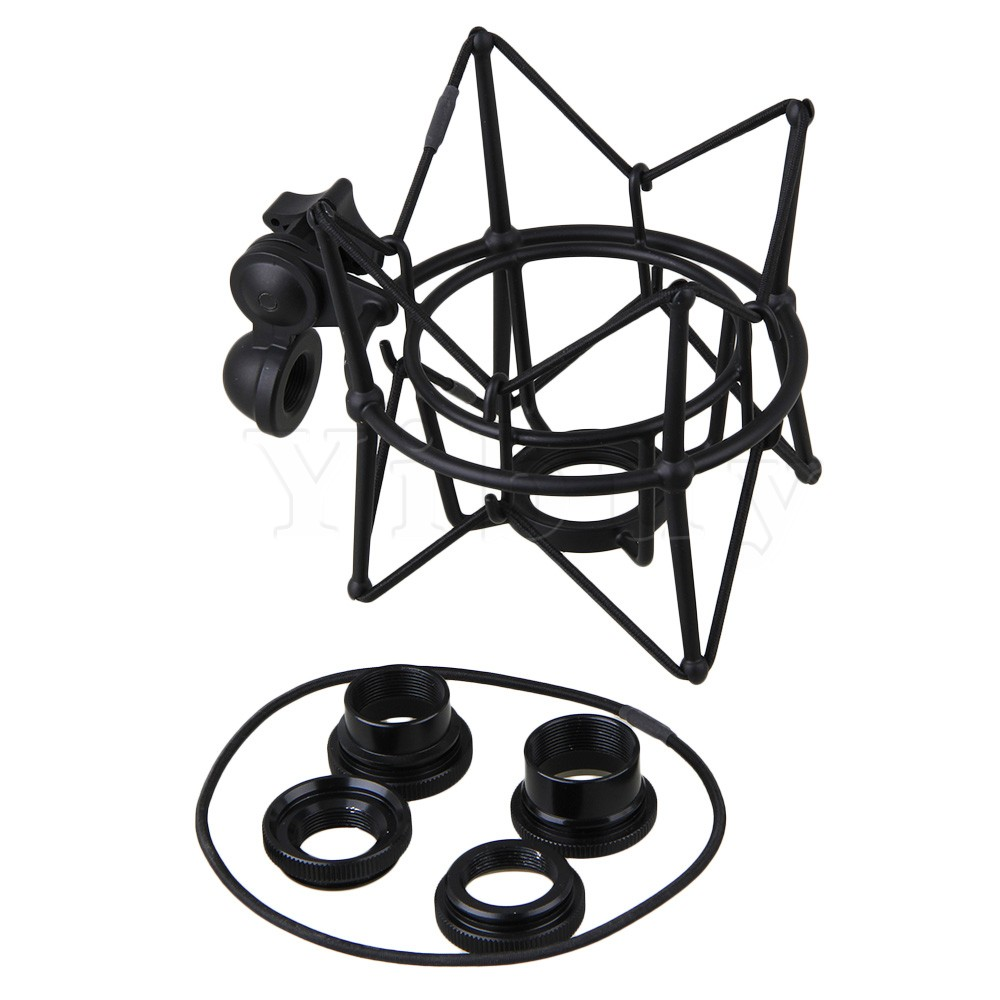 Yibuy Black Metal Large Size Cylinder Spider ShockMount Holder For Newman U87