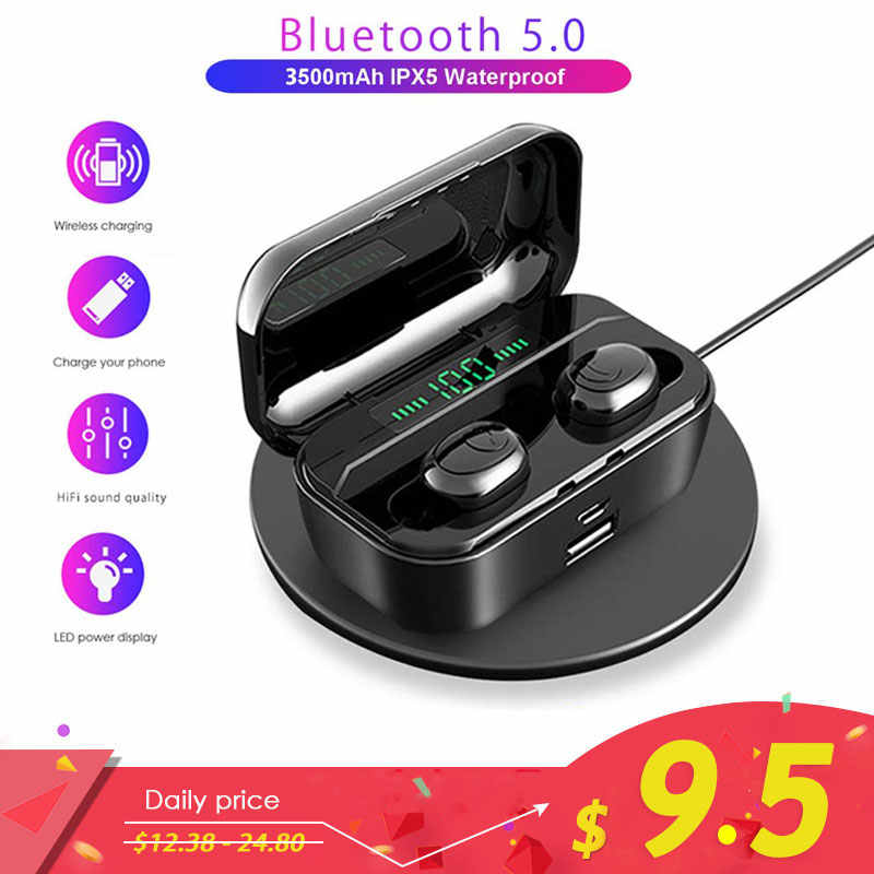 TWS 5.0 Wireless Bluetooth Earphone Stereo Headset IPX7 Waterproof headphones 3500mAh LED Power Bank Charger For Xiaomi iphone