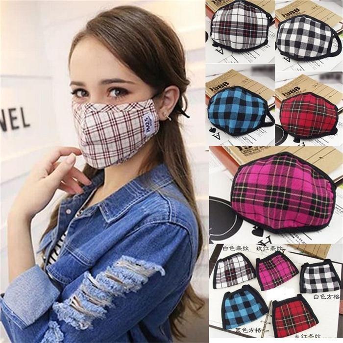 Wind Plaid Dust Anti Blend Cotton Muffle Warm Lattice Mask Mouth