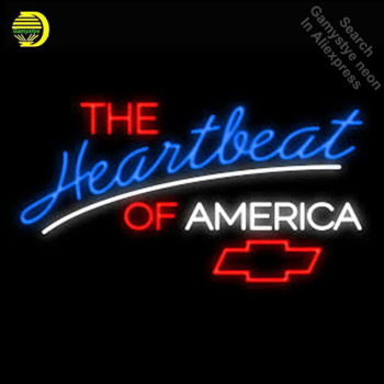 THE HEARTBEA OF AMERICA CHEVROE neon Signs Glass Tube neon lights Recreation Windows Iconic Sign Neon Light fluorescent signs
