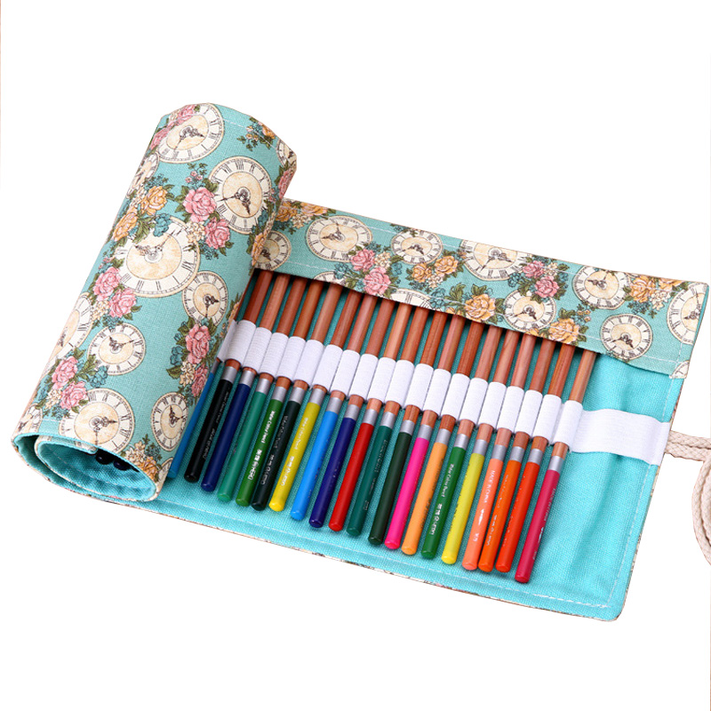 36/48/72 Holes Pencil Case School Canvas Roll Pouch Comestic Makeup Brush Case Pen Storage pecncil box Estuches School penalty 36 48 72 holes pencil case for school fish canvas pouch makeup comestic brush pen storage pencil case school pecncil box b158