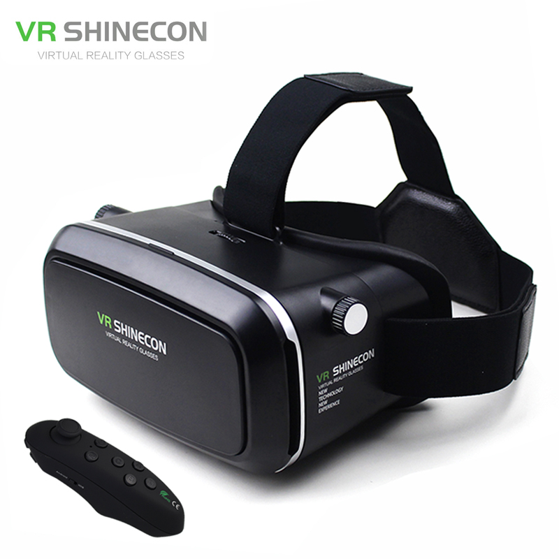VR Shinecon Virtual Reality Goggles Head Mount Moblie 3D Video Glasses Helmet Cardboard 2.0 Box+Phone Bluetooth Control Gamepad