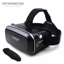 Head Mount Moblie Shinecon VR Gafas de Realidad Virtual 3D Vidrios Video Casco De Cartón 2.0 Caja + Teléfono de Control de Bluetooth Gamepad