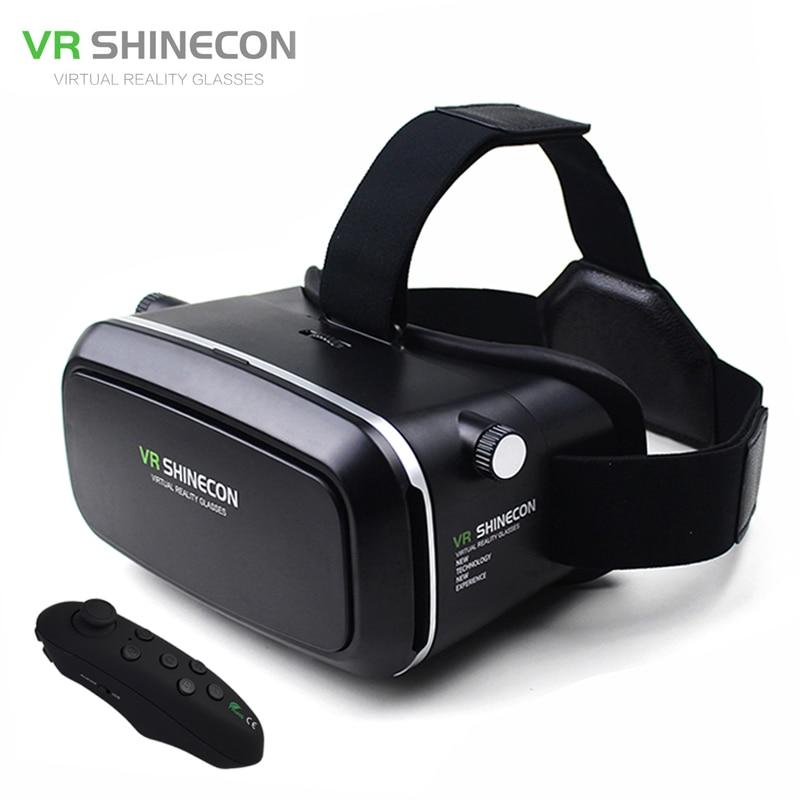 VR shinecon virtual reality gafas Head Mount moblie 3D Gafas de vídeo casco de cartón 2.0 caja + teléfono Bluetooth control GamePad